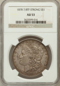 Morgan Dollars: , 1878 7/8TF $1 Strong AU53 NGC. NGC Census: (22/3747). PCGSPopulation (15/5527). Mintage: 544,000. Numismedia Wsl. Price fo...