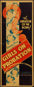 "Movie Posters:Crime, Girls on Probation (Warner Brothers, 1938). Insert (14"" X 36"").Crime.. ..."