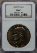 Eisenhower Dollars: , 1976 $1 Type One MS65 NGC. NGC Census: (190/14). PCGS Population (466/22). Mintage: 4,019,000. Numismedia Wsl. Price for pr...