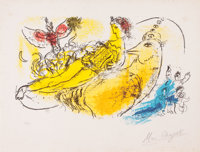 MARC CHAGALL (Belorussian, 1887-1985) L'accordioniste, 1957 Color lithograph 10-1/4 x 15-7/8 inch
