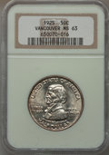 Commemorative Silver: , 1925 50C Vancouver MS63 NGC. NGC Census: (267/1687). PCGSPopulation (699/1975). Mintage: 14,994. Numismedia Wsl. Pricefor...
