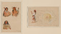 Works on Paper, ROSA BONHEUR (French, 1822-1899). Pair of Indian Studies, 1877, 1895. Gouache on parchment. Larger: 9 x 5-3/4 inches (22...