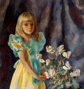 Fine Art - Painting, American:Contemporary   (1950 to present)  , HENRIETTE WYETH (American, 1907-1997). Portrait of O'BrienNicholas (Girl with Cyclamine), circa 1947. Oil oncanvas...