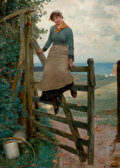 Fine Art - Painting, American:Antique  (Pre 1900), HENRY BACON (American, 1839-1912). Gate to the Sea. Oil oncanvas . 43-1/4 x 31-3/4 inches (109.9 x 80.6 cm). Signed low...