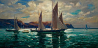 JONAS LIE (Norwegian/American, 1880-1940) Land's End Oil on canvas 30-1/4 x 60-1/4 inches (76.8 x