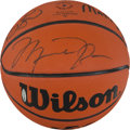 Basketball Collectibles:Balls, Circa 2000 Michael Jordan, Larry Bird & Magic Johnson SignedBasketball....