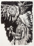 Works on Paper, PAUL CALLE (American, b. 1928). Chief Wolf Plume, 1974. Pencil on paper. 40 x 29-1/2 inches (101.6 x 74.9 cm). Signed an...