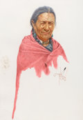 Mainstream Illustration, BOB MOLINE (American, b. 1938). Comanche Lady. Watercolor onpaper. 28 x 19 inches (71.1 x 48.3 cm). Signed center right...