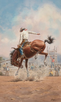 MARVIN W. NYE (American, d. 2005) Ridin' High, 1976 Watercolor and gouache on paper 19 x 11-3/4 i