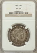 Barber Half Dollars: , 1907 50C VF25 NGC. NGC Census: (3/243). PCGS Population (7/360).Mintage: 2,598,575. Numismedia Wsl. Price for problem free...