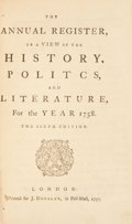 Books:Americana & American History, The Annual Register, or a View of the History of Politics, andLiterature...For the Years 1758-1816. Sixty Volumes. ...(Total: 60 Items)
