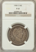 Barber Half Dollars: , 1908-O 50C Fine 12 NGC. NGC Census: (4/215). PCGS Population(17/474). Mintage: 5,360,000. Numismedia Wsl. Price for proble...