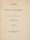 Books:Literature Pre-1900, [Lord Byron]. Thomas Moore (editor). Letters and Journals of Lord Byron: With Notices of His Life, by Thomas Moore... (Total: 2 Items)