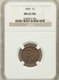 Indian Cents: , 1890 1C MS62 Brown NGC. NGC Census: (38/296). PCGS Population(10/67). Mintage: 57,182,856. Numismedia Wsl. Price for probl...