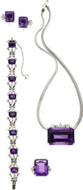 Estate Jewelry:Suites, Amethyst, Diamond, White Gold Jewelry Suite. ...