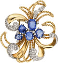 Estate Jewelry:Brooches - Pins, Sapphire, Diamond, Platinum, Gold Clip-Brooch. ...