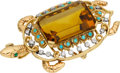 Estate Jewelry:Brooches - Pins, Citrine, Diamond, Turquoise, Platinum, Gold Pendant-Brooch, French....