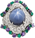 Estate Jewelry:Rings, Star Sapphire, Diamond, Amethyst, Emerald, Platinum, White GoldRing. ...