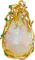 Estate Jewelry:Brooches - Pins, Opal, Diamond, Emerald, Gold Enhancer-Brooch. ...