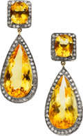 Estate Jewelry:Earrings, Citrine, Diamond, Gold, Silver Earrings. ...