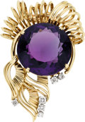 Estate Jewelry:Brooches - Pins, Amethyst, Diamond, Gold Clip-Brooch, Tiffany & Co.. ...