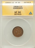 Indian Cents, 1908-S 1C -- Corroded -- ANACS. VF30 Details. NGC Census:(234/1932). PCGS Population (223/1331). Mintage: 1,115,000. N...