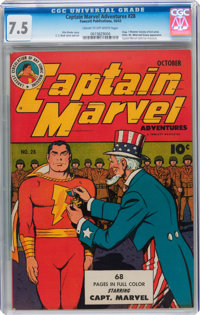 Captain Marvel Adventures #28 (Fawcett Publications, 1943) CGC VF- 7.5 Cream to off-white pages