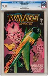 Wings Comics #79 (Fiction House, 1947) CGC VF/NM 9.0 Off-white to white pages