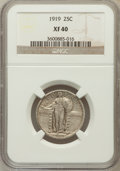 Standing Liberty Quarters: , 1919 25C XF40 NGC. NGC Census: (6/615). PCGS Population (29/865).Mintage: 11,324,000. Numismedia Wsl. Price for problem fr...