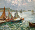 Sculpture, JONAS LIE (Norwegian/American, 1880-1940). Harbor Sails. Oil on panel. 8-1/4 x 9-3/4 inches (21.0 x 24.8 cm). Signed low...