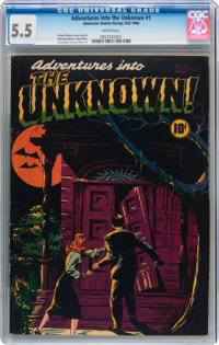 Adventures Into The Unknown #1 (ACG, 1948) CGC FN- 5.5 White pages
