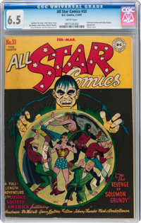 All Star Comics #33 (DC, 1947) CGC FN+ 6.5 White pages