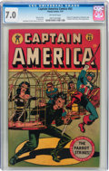 Golden Age (1938-1955):Superhero, Captain America Comics #63 (Timely, 1947) CGC FN/VF 7.0 Off-white pages....