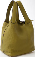 Luxury Accessories:Bags, Heritage Vintage: Hermes Vert Anis Clemance Leather Picton ShoulderBag. ...