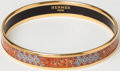 Luxury Accessories:Accessories, Heritage Vintage: Hermes Gold and Orange Enamel Bangle. ...