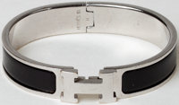 Heritage Vintage: Hermes Silver and Black Enamel 60 mm Narrow Clic H Bracelet