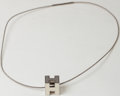 Luxury Accessories:Accessories, Heritage Vintage: Hermes Silver and White Enamel H Cube Necklace....