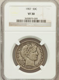 Barber Half Dollars: , 1907 50C VF30 NGC. NGC Census: (3/240). PCGS Population (14/346).Mintage: 2,598,575. Numismedia Wsl. Price for problem fre...
