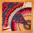 """Luxury Accessories:Accessories, Heritage Vintage: Hermes Light Orange, Gray and Red """"Brazil (Detail),"""" by Laurence Bourthoumieux Silk Scarf. ..."""