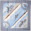 """Luxury Accessories:Accessories, Heritage Vintage: Hermes Light Blue and White """"Gronland,"""" by Philippe Ledoux Silk Scarf. ..."""