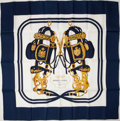 "Luxury Accessories:Accessories, Heritage Vintage: Hermes Navy & White ""Brides de Gala,"" by HugoGrygkar Silk Scarf. ..."
