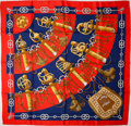 "Luxury Accessories:Accessories, Heritage Vintage: Hermes Red, Navy, and Gold ""Cliquetis,"" by JuliaAbadie Silk Scarf. ..."