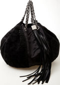 Luxury Accessories:Bags, Heritage Vintage: Chanel Black Satin and Shearling Drawstring Bag....