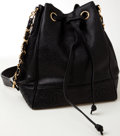 Luxury Accessories:Bags, Heritage Vintage: Chanel Black Caviar Leather Drawstring BucketBag. ...