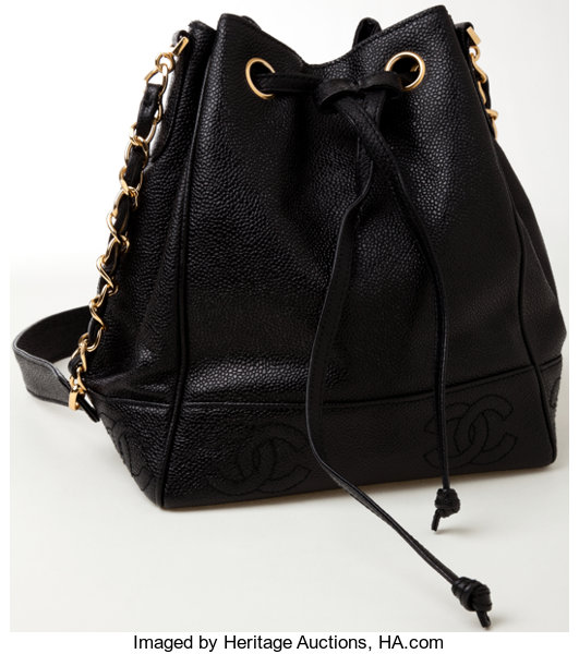 52f4c25bcfee Luxury Accessories:Bags, Heritage Vintage: Chanel Black Caviar Leather  Drawstring BucketBag.