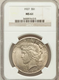 Peace Dollars: , 1927 $1 MS61 NGC. NGC Census: (350/3561). PCGS Population(203/5310). Mintage: 848,000. Numismedia Wsl. Price for problemf...