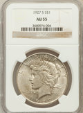 Peace Dollars: , 1927-S $1 AU55 NGC. NGC Census: (112/2985). PCGS Population(143/4414). Mintage: 866,000. Numismedia Wsl. Price for problem...