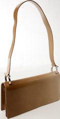 Luxury Accessories:Bags, Heritage Vintage: Ferragamo Beige Leather Flap Shoulder Bag. ...