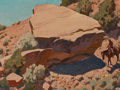 Paintings, MAYNARD DIXON (American, 1875-1946). Rocky Hillside, 1944. Oil on board. 12 x 16 inches (30.5 x 40.6 cm). Signed and dat...