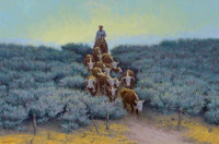 TOM RYAN (American, 1922-2011) A Change of Pastures Oil on canvas 18 x 27 inches (45.7 x 68.6 cm)